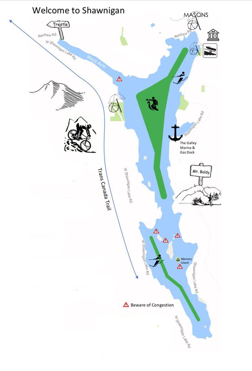 Shawnigan Lake Boating Rules by area
